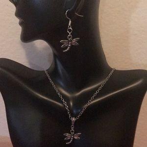 Jewelry - TIBETAN SILVER DRAGONFLY SET (HANDMADE)